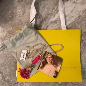 NWT KS Eva Gold Long Pendant Necklace Pink Agate